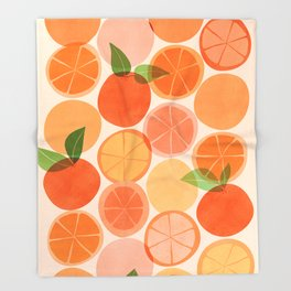 Sunny Oranges / Tropical Fruit Illustration Throw Blanket