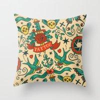 tattoos Throw Pillows featuring Tattoos by Illuminany