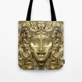 """Ancient Golden and Silver Medusa Myth"" Tote Bag"