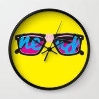 nerd Wall Clocks featuring Nerd by Aaron Synaptyx Fimister