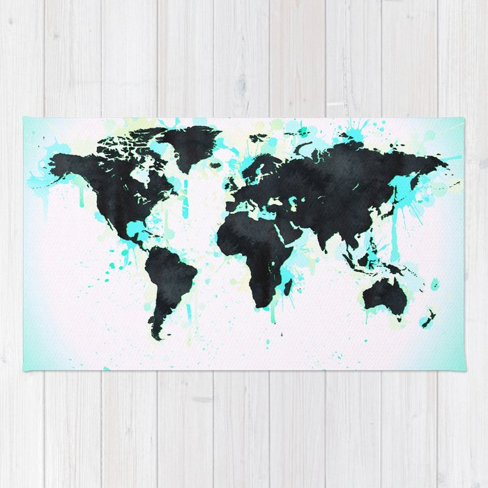 World map turquoise paint and black ink rug by naturemagick society6 world map turquoise paint and black ink rug sciox Images