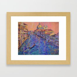 Sunset Over The Grand Canal In Venice -palette knife urban city landscape by Adriana Dziuba Framed Art Print