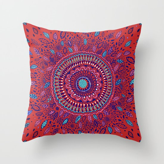 red and blue mandala throw pillow by janet broxon society6