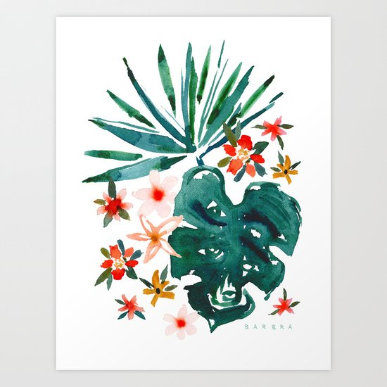 TROP DON'T STOP Tropical Palms and Monstera by barbraignatiev