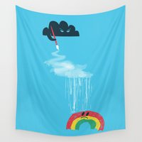 rain Wall Tapestries featuring Rain Rain Go Away by Picomodi