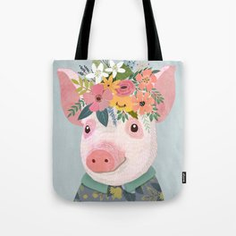 Pig with floral crown, farm animal Tote Bag