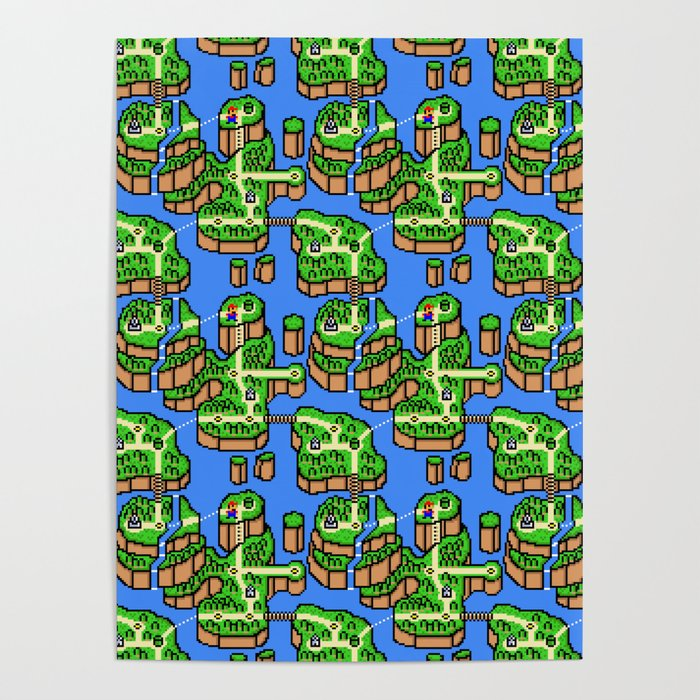 Super Mario Bros Nintendo Map Retro Arcade Gaming Design Poster by on map of moshi monsters, map of fire emblem, map of oregon trail, map of kingdom hearts, map of sports, map of pokemon, map of sesame street, map of luigi's mansion, map of angry birds, map of baseball, map of hello kitty,