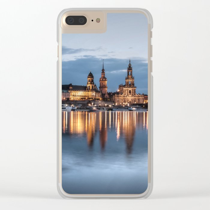 Dresden skyline, City, Germany, Cityscape blue hour Clear iPhone Case