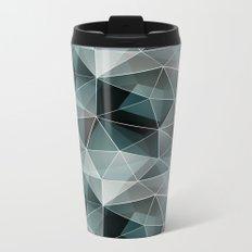 Black, grey, white polygonal pattern. Metal Travel Mug