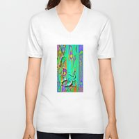shabby chic V-neck T-shirts featuring  Shabby Chic Faux Torn Vintage Wall Paper by SharlesArt
