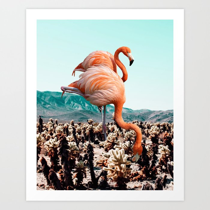 Flamingos In The Desert #society6 #artprints #flamingo Art Print