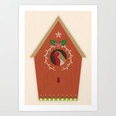 Red Bird House Art Print