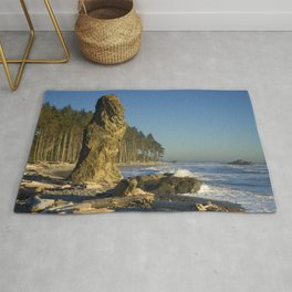 Sea Stack on Ruby Beach in Washington State Rug