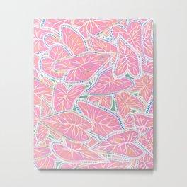 Tropical Caladium Leaves Pattern - Pink Metal Print