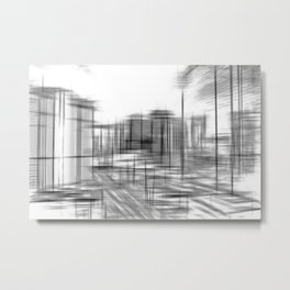 pencil drawing buildings in the city in black and white Metal Print