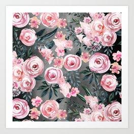 Night Rose Garden Art Print