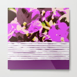 Lilac flowers and stripes, pattern mix Metal Print