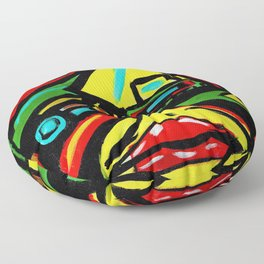 """""""Rosy Cheeks"""" Abstract Portrait Painting Floor Pillow"""