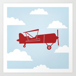 Biplane Bright Red Art Print