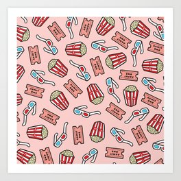 Movie Pattern in Pastel Pink Art Print