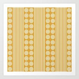 Geometric Golden Yellow & White Vertical Stripes & Circles Art Print