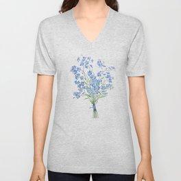 blue forget me not bouquet 2020 Unisex V-Neck