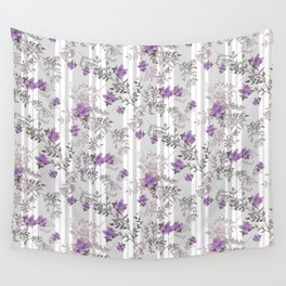 Lilac roses on a gray striped background. Wall Tapestry