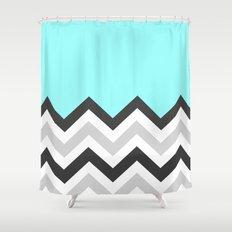 Color Blocked Chevron 16 Shower Curtain