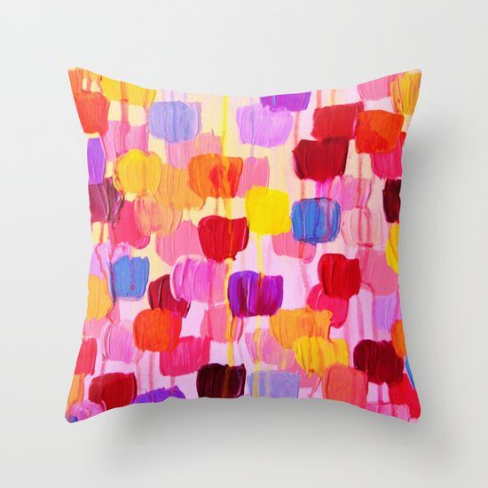 DOTTY in Pink - October Special Revisited Bold Colorful Square Polka Dots Original Abstract Painting Throw Pillow