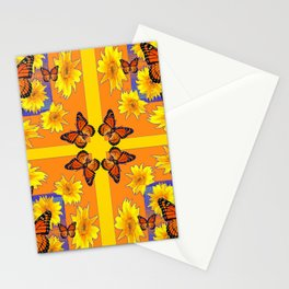 ORANGE MONARCH BUTTERFLIES & YELLOW SUNFLOWERS Stationery Cards