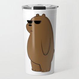 lovely bear with glasses - illustration  Travel Mug