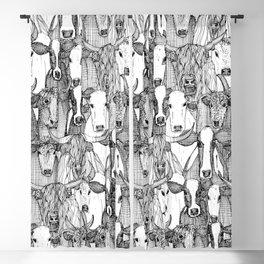 just cattle black white Blackout Curtain