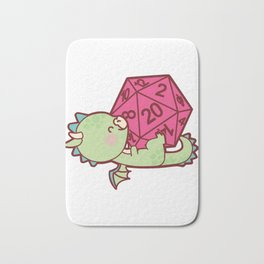 Cute Womens Tabletop Gaming Gift Girls Dragons D20 Dice Print Bath Mat