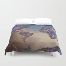 Stars world map. Blue Duvet Cover