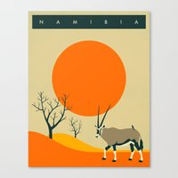 travel poster Canvas Prints featuring NAMIBIA Travel Poster by Jazzberry Blue