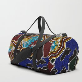 Aboriginal Art Authentic - Walking the Land Duffle Bag