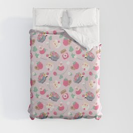 Bubu and Moonch, Guinea pig and Capybara Strawberry Season Pattern Duvet Cover