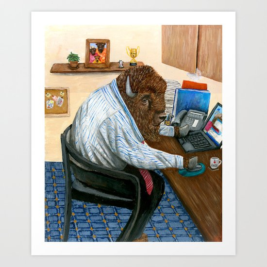 Another hard day for a buffalo Art Print
