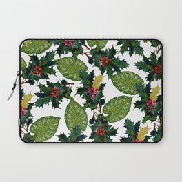 Christmas faux gold red green holly leaves floral Laptop Sleeve