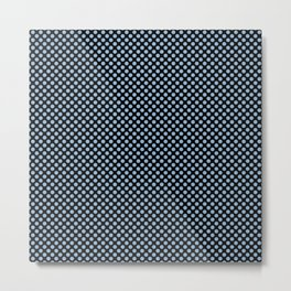 Black and Airy Blue Polka Dots Metal Print