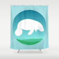 manatee Shower Curtains featuring Manatee by tuditees