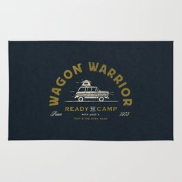 """Wagon Warrior"" Jeep Camping (moss) Rug"