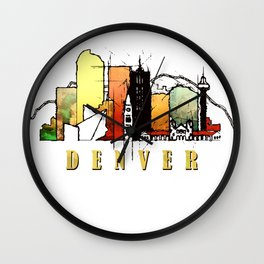 Colorful Denver Colorado Skyline Wall Clock