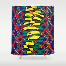 6825-LB Two Bodies Merge as One - Abstract Figurework Shower Curtain