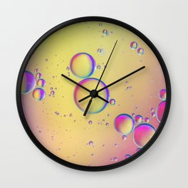Oil drops in water. Abstract psychedelic pattern image multicolored. Abstract background with colorf Wall Clock