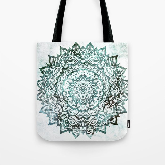 Emerald Jewel Mandala Tote Bag