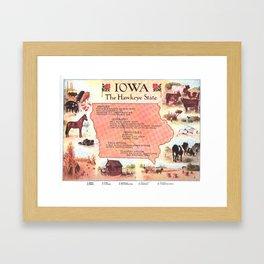 Vintage Map of Iowa (1912) Framed Art Print