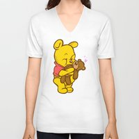 pooh V-neck T-shirts featuring Pooh And Teddy by Artistic Dyslexia