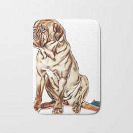 Beautiful dog of French Mastiff / Dogue De Bordeaux breed sits in studio looking aside in studio aga Bath Mat