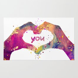 Heart Watercolor Art Print Love Hands Valentine's Day Rug